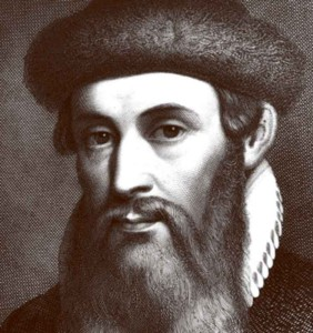 portrait of the German Johann Gutenberg invented the printing press and movable type printing