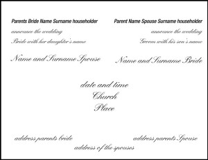Classic formula of wedding invitations with announcement made by the parents of the couple