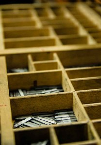 Detail of drawers for movable type cast in lead typography