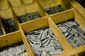 Cassettiera per caratteri mobili fusi in piombo tipografia