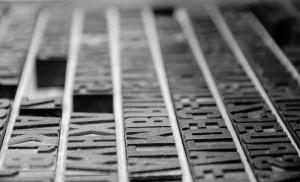 Cassetto di caratteri mobili fusi in piombo corpo grandi dimensioni tipografia
