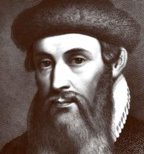 ritratto del tedesco Johann Gutenberg inventore della tipografia e della stampa caratteri mobili