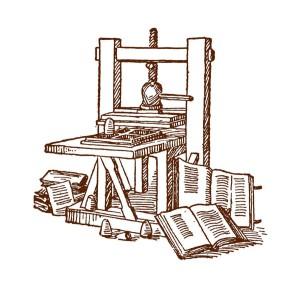 Disegno di modello di torchio pressore utilizzato da Johann Gutenberg